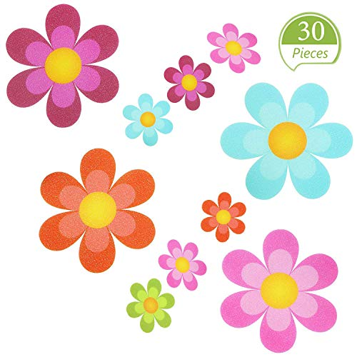 koeall 30 Pieces Non Slip Bathtub Stickers Adhesive Decals with Bright Colors, Daisy Bath Treads and Anti-Slip Appliques for Bath Tub, Stairs, Shower Room and Other Slippery Surfaces, Multi-Color Flow