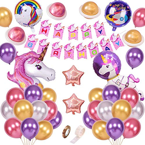 FUNCUBE Unicorn Party Decorations for Kids, 3D Foil Unicorn Balloons with DIY Happy Birthday Banner, Premium Latex Balloons in Metallic, Birthday Party Supplies for Baby Shower