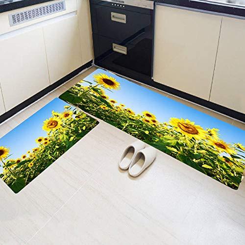 Stijlvolle extra lange vloermatten badkamer keuken tapijten anti-slip matten 2-delige set