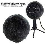 Furry Windscreen Muff-マイク用にカスタマイズされたポップフィルター、ブルースノーボールiCEマイクのオーディオ品質を向上させるためのフロントガラスウィンドカバー(ブラック)
