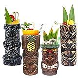 Tiki Mugs Cocktail Set of 4 - Large Tumblers Ceramic Hawaiian Luau Party Mugs Drinkware, Cute Exotic Cocktail Glasses, Tiki Bar Professional Hawaiian Party Barware, TKSET0005
