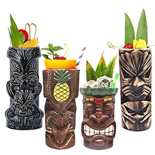 Tiki Mugs Cocktail Set of 4 - Tumblers Ceramic Hawaiian Luau Party Mugs Drinkware, Cute Exotic Cocktail Glasses, Tiki Bar Professional Hawaiian Party Barware, TKSET0005