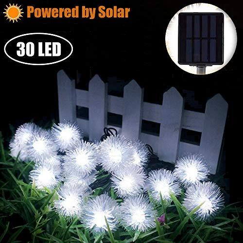 Pufferball Solar Lichterketten Marvelights Weiße Lichterketten 30 Led 2 Modus 6,5m Wasserdichtes Design Geeignet für Drinnen und Draußen für Party Garten Weihnachtsdekoration