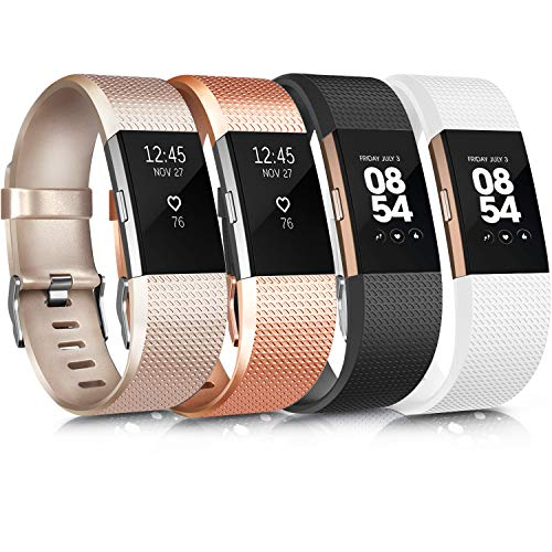 Wanme Bracelet Compatible avec Fitbit Charge 2 Réglables Sport Accessorie Replacement Band pour Fitbit Charge 2 Fitness Wristband-4 Pack (01 Gold Rose/Gold/Black/White, S)