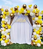 116 Pieces Yellow Balloons, Balloon Garland Arch Kit, Yellow White and Gold Balloons for Baby Shower Honeybee theme Wedding Birthday Graduation Anniversary Globos Para Fiestas Party Decorations