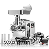 STX Turboforce II'Platinum' w/Foot Pedal Heavy Duty Electric Meat Grinder & Sausage Stuffer: 6 Grinding Plates, 3 S/S Blades, 3 Sausage Tubes, Kubbe, 2 Meat Claws, Burger-Slider Patty Maker - White
