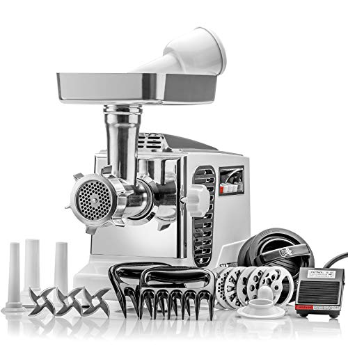 """STX Turboforce II""""Platinum"""" w/Foot Pedal Heavy Duty Electric Meat Grinder & Sausage Stuffer: 6 Grinding Plates, 3 S/S Blades, 3 Sausage Tubes, Kubbe, 2 Meat Claws, Burger-Slider Patty Maker - White"""
