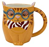 Boston Warehouse Ceramic Hand-Painted Stoneware Smarty Cat Mug, 18 Ounces