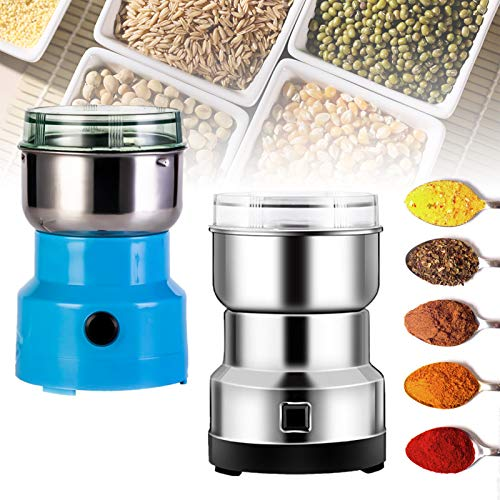 Multifunction Smash Machine Grinder Household Electric Grain Grinder Ultra Fine Dry Food Coffee Bean Grinder Seasonings Spices Mill Powder for Cereal/Spice/Herb/Cereal/Beans/Pet Food Blue+Silver