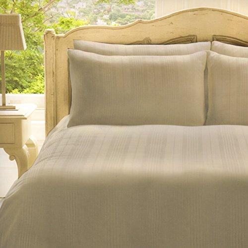 FRETTE Doppelter Set Bettbezug mit 2Kopfkissenbezügen, cremefarben, 100% Baumwolle,