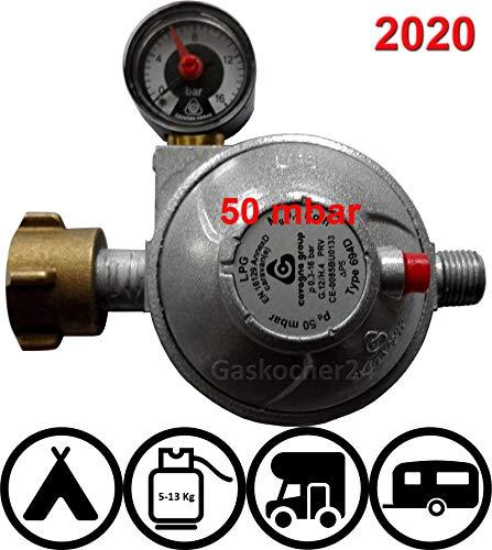 TGO 50mbar Sicherheits-Druckregler mit Manometer für Fahrzeuge Caravan und Wohnmobile 30 oder 50mbar (mit Aufdruck 2020)