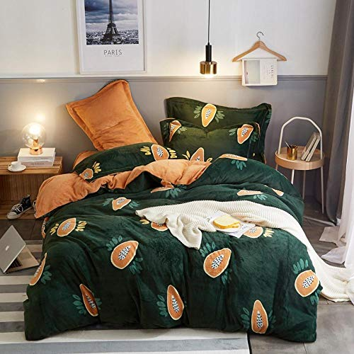geek cook Bedding 4 piece set,Autumn and winter milk velvet four-piece set, double-sided thick flannel sheet duvet cover to keep warm-Colorful_1.5m/1.8m bed