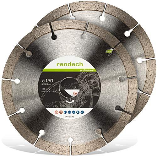 2x Rendech® Diamantscheibe 150mm für Mauerwerk, Beton, Stein, Ziegel uvm. Diamant-Trennscheibe geeignet für Mauernutfräse
