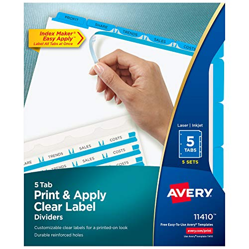 Avery 5-Tab Binder Dividers, Easy Print & Apply Clear Label Strip, Index...