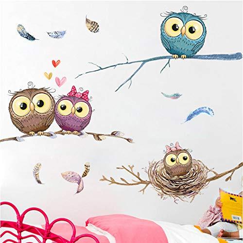 Cartoon Eule Baby im Baum Wandaufkleber Home Decor Schlafzimmer für Kinderzimmer Babyzimmer Hintergrund Wandkunst Aufkleber Poster Aufkleber