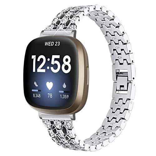YiMiky Armband für Fitbit Versa 3, Edelstahl Metall Armband mit Bling Strass Armband Ersatz Uhrenarmband für Fitbit Sense/Versa 3 (Silber)