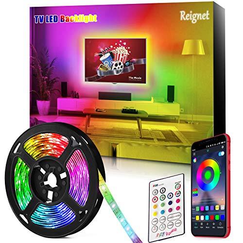 Tira LED TV, 3.5M para TV de 46-65 pulgadas, Mirror, PC, Control de mñusica e iluminación a través de APP, Tira de luz 5050 RGB USB LED Compatible(APP+control remoto)