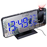 Number-One Projection Digital Alarm Clock for Bedrooms, FM Radio Alarm Clock, 7.5'' Dual Alarms with Snooze, USB Charging Port, Temperature & Humidity Display, 180° Rotable, 4 Dimmer, 12/24 Hours