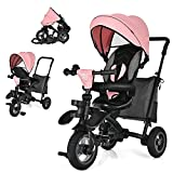 BABY JOY Toddler Tricycle, 7 in 1 Folding Steer Trike w/Rotatable Seat, Adjustable Canopy, Push Handle, Guardrail, Safety Harness, Brakes, Cup Holder & Storage, Tricycle for Toddlers Ages 1.5-5 (Pink)