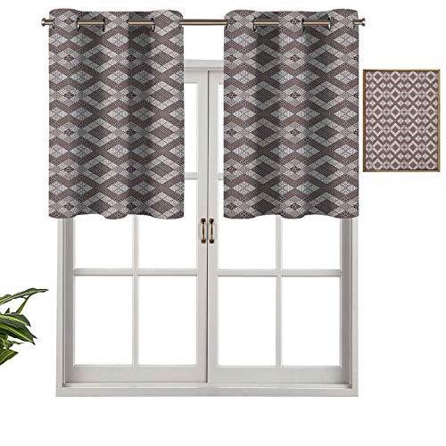 Hiiiman - Mantovana corta e dritta, motivo patchwork astratto, con elementi floreali, motivo a rombo e fiocchi di neve, 106,7 x 61 cm, per Windows Kitchen