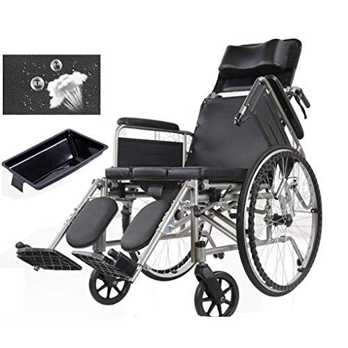 Rollende Dusche Rollstuhl Badewanne Toilettenkommode Stuhl, Klappbare Kommode am Bett mit hoher Rückenlehne und hochklappbaren Armlehnen, Edelstahl Tragbarer Toilettensitz für Senioren / Behinderte.