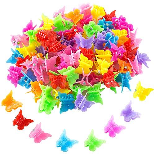 WolinTek 100 Stück Mini Haarspangen Haargreifer Klaue Clips Pins Mini Schmetterling Haarspangen Haarschmuck für Kinder Mädchen Frauen (Schmetterling)