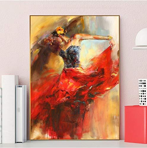 REDWPQ Figure Art Espagnol Danse de Flamenco Peinture Toile Danseuse de Flamenco Affiche Peinture décorative pour Salon décor à la Maison 50X70Cm sans Cadre