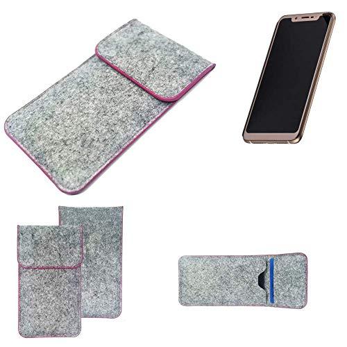 K-S-Trade Handy Schutz Hülle Für Doogee V Schutzhülle Handyhülle Filztasche Pouch Tasche Hülle Sleeve Filzhülle Hellgrau Pinker Rand