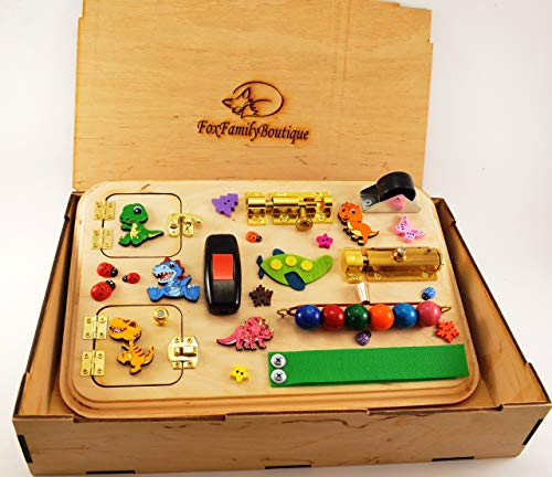 Busy board with gift box Easter baby gift Toddler toys Wooden toys Toy for travel Montessori Activity board Sensory toy Baby gift Travel toys Baby toys