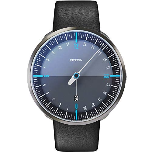 Botta-Design UNO 24 Plus Titan Quarz Armbanduhr - 24H Einzeigeruhr, Titan, Saphirglas Antireflex, Lederband (45 mm, Schwarz/Blau)