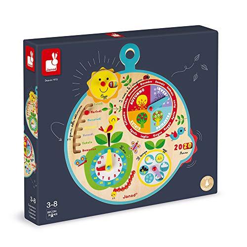 Janod- Calendario educativo per Bambini Au Fil du Temps in Legno-Versione Italiana-da 3 Anni, J09622