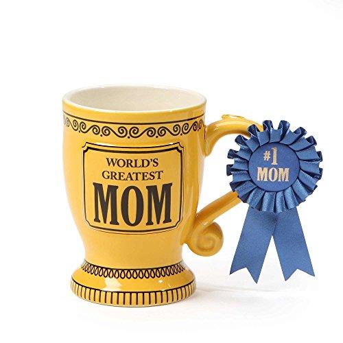 "Our Name is Mud ""World's Greatest Mom"" Blue Ribbon Trophy Stoneware Coffee Mug, 16 oz."