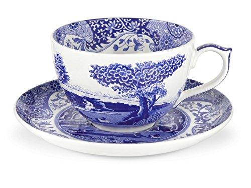 Portmeirion Home & Gifts Jumbo-Tasse mit Untertasse, blau/weiß, 0.56L/20fl.oz