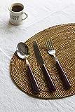 Treslin Set Cubiertos De Mesa,Espesar Retro Mango De Cerámica De Acero Al Horno Cuchillo De Filete De Comida Occidental Cuchara Tenedor 15 Unids-Rojo-15 Piezas