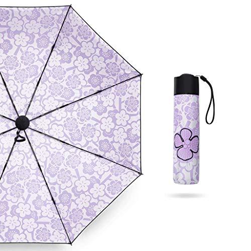 Meng Yuan Sonnenschirm schwarzer Anti-UV-Sonnenschirm ultraleichter Regen und Regen Regenschirm mit doppeltem Verwendungszweck Kleiner frischer Taschenschirm (Farbe : 4)