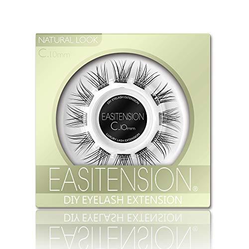 DIY Eyelash Extension, Glue Bonded Band Individual Lash 12 Clusters Natural Lashes Set, Home Eyelash Extension, C curl Lashes Pack (10MM-Natural)