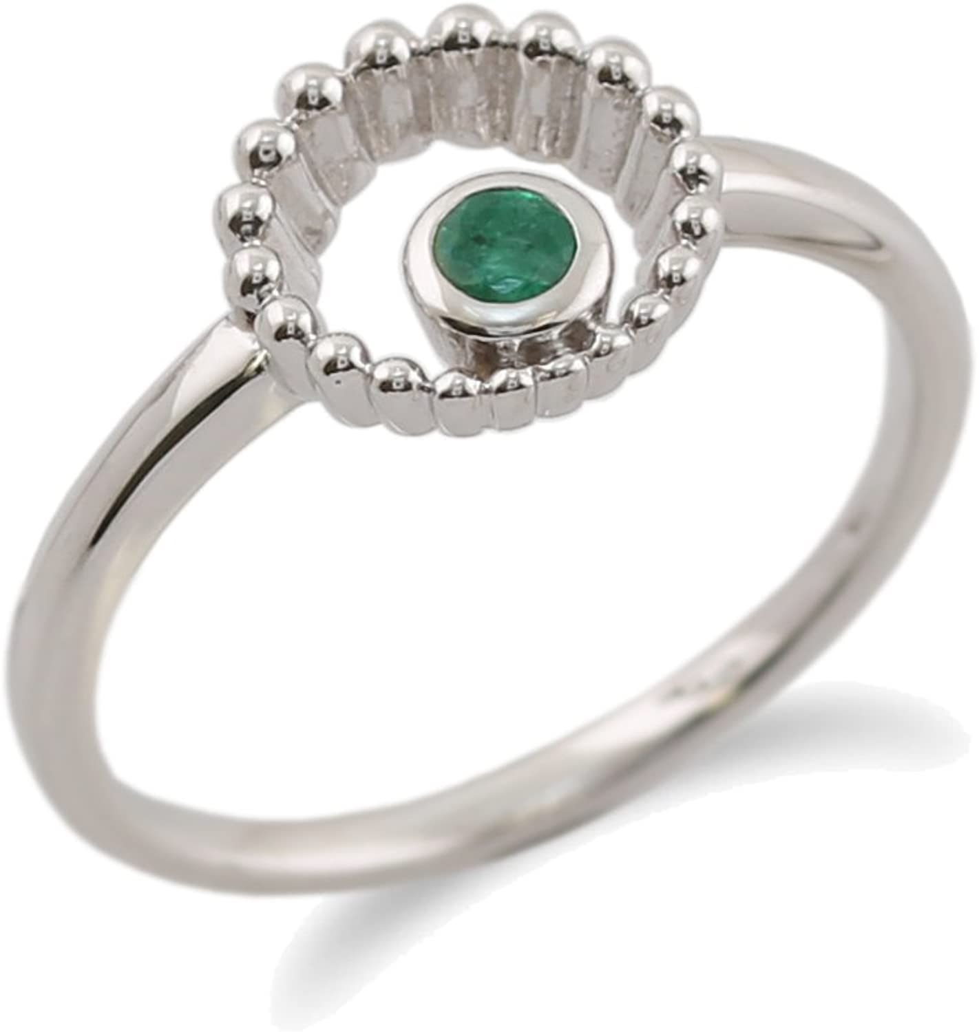 Gemondo Emerald Ring, 925 Sterling Silver 0.11ct Emerald Ring