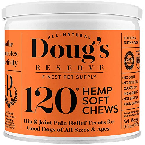 DOUG'S RESERVE Hemp Chews for Dogs Hip and Joint Supplements for Pain Relief, Mobility Improvement & Anti Inflammatory Action - with Glucosamine, Chondroitin, MSM, Turmeric, for Large Dogs 120 Count