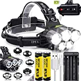 Headlamp,12000 Lumen LED 18650 USB Rechargeable Headlamp Head Light Waterproof Torch Lamp Flashlight Charger Long Battery Life With 6000mAh Batteries for Camping,Running,Hiking,Best Christmas Gifts