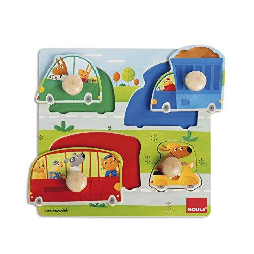 Goula - Puzzle vehículos, Encajable de madera para niños a partir de 1 año (Juguete)