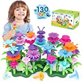 Flower Garden Building Block Toys Gifts,130 pcs Best Stem Toys for 3 Year Old Girl Growing Flower...