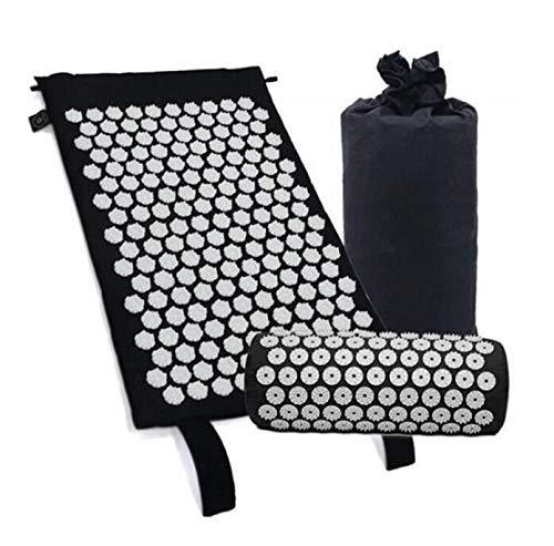 Marbeine - Kit de esterilla de acupresión con almohada de masaje portátil para el alivio del dolor corporal, color negro