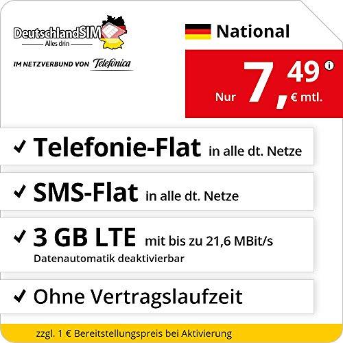 Handyvertrag DeutschlandSIM LTE 3000 National - ohne Vertragslaufzeit (3 GB LTE mit max. 21,6 MBit/s inkl. deaktivierbarer Datenautomatik, Telefonie-Flat, SMS-Flat, 7,49 Euro/Monat)