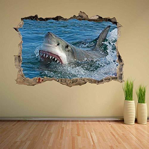 3D Wandtattoo Mauerloch Wandsticker Wandaufkleber Durchbruch selbstklebend Schlafzimmer Wohnzimmer Kinderzimmer,Haie 80x125cm
