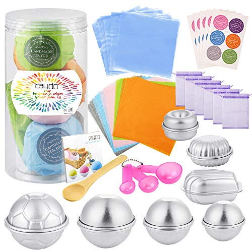 Caydo 154 PCS DIY Bath Bombs Mold Set with Instructions Including 14 PCS 5 Shape Metal Bath Bomb Molds, Spoons, Wrapping Papers, Shrink Wrap Bags for Bath Bombs Making and Handmade Soap Making