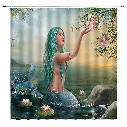 D-M-L Duschvorhang Anti-Schimmel Wasserdicht Badvorhang,Waschbarer mit 12 Ringe Sea Mermaid Girls Märchen Nackte Meerjungfrau Coastal Glitter Lotus Under Blossom Tree Scenic 48x72''(120X180CM)