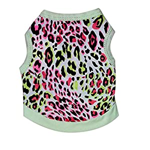 BBEART Pet Clothes, Leopard Print T-Shirt Puppy Cat Cotton Vest Clothing Apparel Spring Summer Breathable Sleeveless Harness Costumes for Small Dogs
