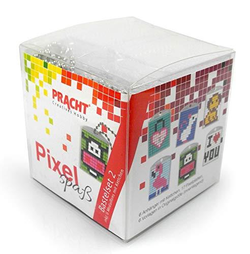 P90007-63501 Pixel Spaß Bastelset 2, zur Gestaltung von 6 Schlüsselanhängern (Medaillons) für Kinder, kinderleichtes Stecksystem, ohne Bügeln und Kleben, Steinchen aus Biokunststoff