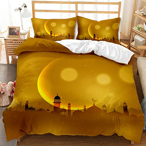 SHJIA Cartoon Creative Moon Printing Bedding, Warm And Comfortable Polyester Oversized Duvet Cover Set, Duvet Cover 260X230cm With 2 Pillowcases