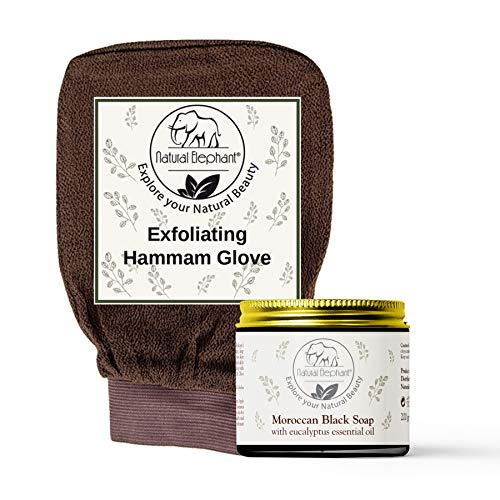 Natural Elephant Moroccan Black Soap 200g (7oz) and Exfoliating Hammam Glove Combo (Chocolate Brown)